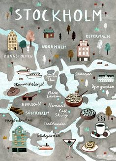 Stockholm Illustrated Map - Swedish Art Print - City Map Poster Scandi style illustrated map print of Stockholm, Sweden. The perfect poster / wall. Travel and map illustration Travel Maps, Travel Posters, Places To Travel, Travel Europe, Stockholm Map, Stockholm Shopping, Dubrovnik, Voyage Suede, City Map Poster