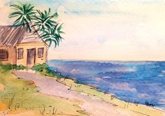 The Beach House This is an original, hand painted notecard and not a reproduction. No two of my hand painted cards are the same. The inside of