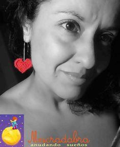 Pendientes #corazones#rojos #macramé