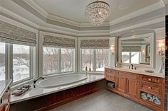 Amazing bathroom, windows, roman blinds, oak?