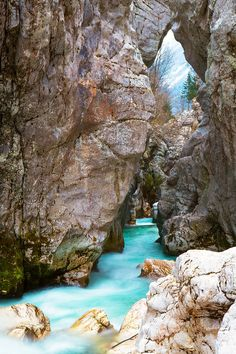 Soca waterfall, Triglav National Park, Slovenia by Reinhold Samonigg