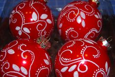 Set of 4 Hand Painted Glass Christmas Balls by DELIGHTFULCURIOSITY, $18.00