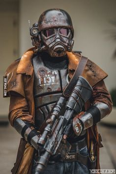Fallout NCR Ranger Cosplay Photography / Gun Helmet Armor // ♥ More at: https://www.pinterest.com/lDarkWonderland/