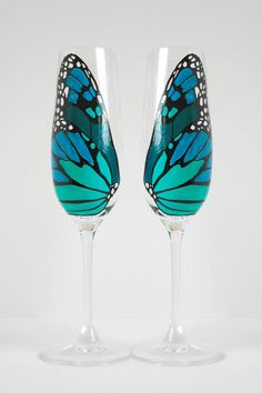 Butterfly Wing Champagne Flutes Set of 2 by MaryElizabethArts