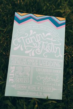 whimsical wedding invitation // photo by Color Me Rad // paper goods by Twinkle and Toast // view more: http://ruffledblog.com/aqua-pink-carlsbad-wedding