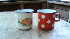 2 Vintage Enamelware Mugs Shabby Chic by GryphonVintage on Etsy, $16.00