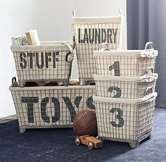 Industrial Baskets & Liners Set of 3 | Novelty Storage | Restoration Hardware Baby & Child