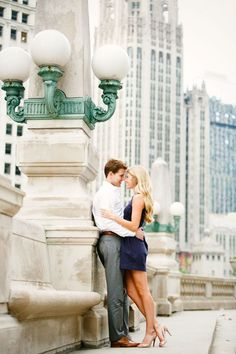 Near Michigan on Upper Wacker (?) Chicago Engagement photo by Husar Wedding Photography Chicago Engagement Photos, Engagement Shots, Engagement Photo Outfits, Engagement Photo Inspiration, Engagement Couple, Engagement Ideas, Wedding Photography Poses, Couple Photography, Photography Ideas