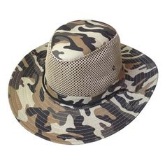 [Visit to Buy] Super sell Men Wide Full Brim Camouflage Mesh Design Fishing Hiking Hat Cap #Advertisement