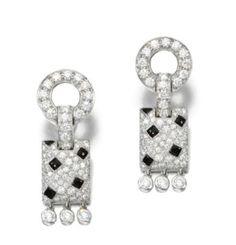 ONYX AND DIAMOND EAR CLIPS, 'PANTHÈRE', CARTIER