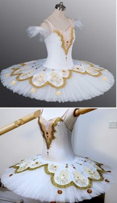 white with lace and gold trim tutu.com