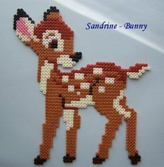 es Disney Bambi hama perler by Sandrine Perler Bead Designs, Hama Beads Design, Diy Perler Beads, Perler Bead Art, Pearler Beads, Fuse Beads, Melty Bead Patterns, Pearler Bead Patterns, Perler Patterns