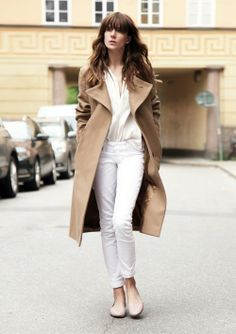 White out moment with cool camel topper. Yes to that.