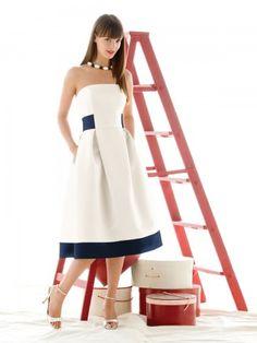 (NO.018772 )A-line Strapless Belt Sleeveless Knee-length  Satin White Bridesmaid Dress / Cocktail Dress / Homecoming Dress