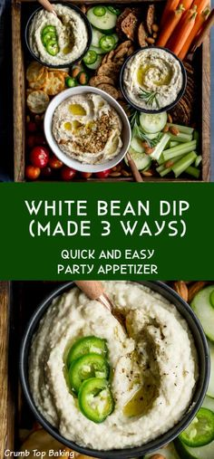 White Bean Dip is a quick and easy appetizer that requires just a few ingredients and five minutes prep time! It's thick and creamy, and with three different variations included in the recipe, there's something for everyone at your holiday or game day party! #ad #whitebeandip #dip #appetizer #partyfood #dairyfree #easyrecipe