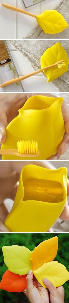 Leaf toothbrush cover that converts into a drinking /rinsing cup! Perfect for camping or travel - genius! #product_design