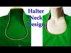 In this video you have learned to make a latest Halter neck design cutting and stitching for kurti / Suit / Kameez in Hindi. Halter neck design in Hindi Shre. Chudidhar Neck Designs, Neck Designs For Suits, Neckline Designs, Dress Neck Designs, Collar Designs, Collar Kurti Design, Saree Blouse Neck Designs, Kurta Neck Design, Fancy Blouse Designs