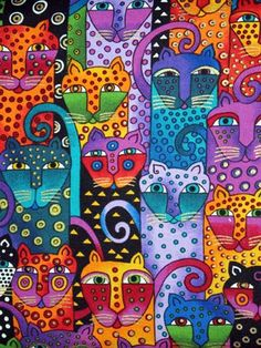 Gatos - Laurel Burch was wonderful! Laurel Burch, Arte Elemental, Inspiration Art, Cat Colors, Bright Colors, Colours, Arte Popular, Art Graphique, Needlepoint Canvases