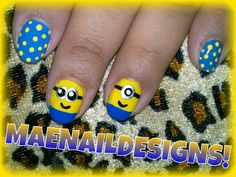 MINIONS AND POLKA DOTS NAIL DESIGN! FOLLOW/LIKE/SHARE TUTORIAL HERE: http://www.youtube.com/watch?v=9_iB0KMm87c