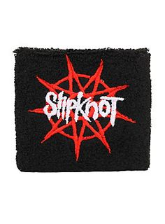 Black terry cloth wristband with embroidered Slipknot logo design. Imported  Slipknot Logo 9fd64b8aa8df