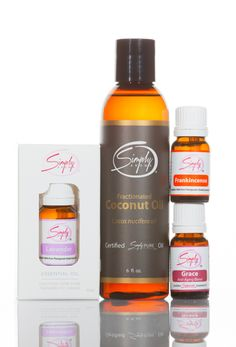 Simply Aroma -    Package Includes:     1 - Grace Essential Oil (Anti-aging Blend) 10mL  1 - Frankincense Essential Oil 10mL  1 - Lavender Essential Oil 10mL  1 - Fractioned Coconut Oil 6oz    (Retail Price $171.00)