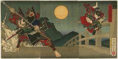 Ushiwaka and Benkei duelling on Gojo Bridge - Tsukioka Yoshitoshi