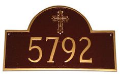 Arch Address Plaque Cross