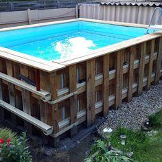 This amazing fiberglass pool can be an inspirational and fantastic idea Jacuzzi Pool, Natural Swimming Pools, Swimming Pools Backyard, Small Backyard Pools, Diy Pool, Piscina Diy, Piscina Rectangular, Pallet Pool, Fiberglass Pools