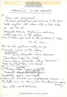 Paul McCartney's handwritten lyrics (on Apple Corps. stationery) to Maxwell's Silver Hammer