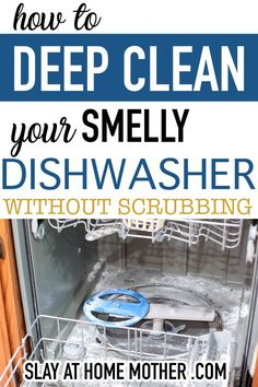 The easiest way to deep clean your dishwasher, get rid of nasty leftover food and bacteria, and get rid of the smell without ever having to scrub! Dishwasher Smell, Cleaning Your Dishwasher, Kitchen Cleaning, Cleaning Recipes, Diy Cleaning Products, Cleaning Hacks, Cleaners Homemade, Diy Cleaners, Deep Cleaning Checklist