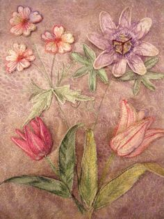 Botanical embroidery, textile art, Stumpwork Flowers, by Corinne Young