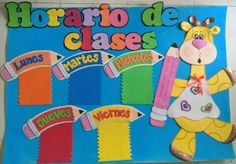 Horario de clases en foamy Foam Crafts, Preschool Crafts, Crafts For Kids, Class Decoration, School Decorations, Library Rules Poster, Elementary Bulletin Boards, Bulletin Board Design, Birthday Charts