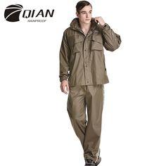 QIAN RAINPROOF Impermeable Raincoat Men Suit Rain Coat Outdoor Women Hood Motorcycle Raincoat Camping Fishing Rain Gear Poncho