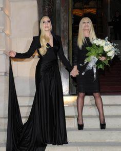 Lady Gaga and Donatella Versace arriving at Versace Fashion Show #6