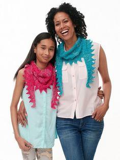 Yarnspirations.com - Patons Sawtooth Kerchief for Mom & Me - Patterns  | Yarnspirations