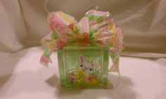 """4 1/2"""" Square Hand Painted Easter Lighted Glass Block Painted Glass Blocks, Lighted Glass Blocks, Hand Painted, Easter, Unique Jewelry, Handmade Gifts, Etsy, Kid Craft Gifts, Easter Activities"""