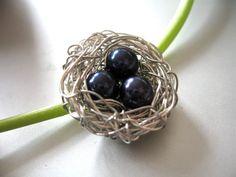 Bird nest handmade brooch pin, $35