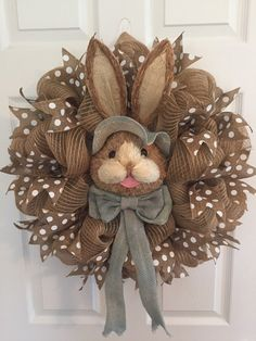 LARGE Easter Wreath Natural Bunny Face Wreath by RoesWreaths