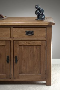 Rustic Solid Oak Sideboard - Beautiful inlaid paneling and farmhouse character.