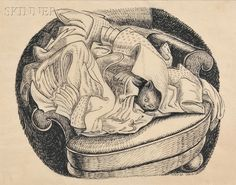 Wanda Gag (American, 1893-1946) Cat Hiding in a Laundry Pile. | Auction 2896B | Lot 342 | Sold for $3,075