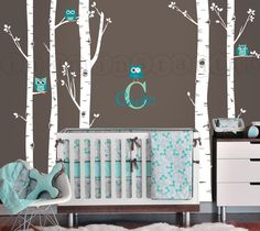 Birch Tree Owl Wall Vinyl Decal Owls and Birch by InAnInstantArt, $87.00
