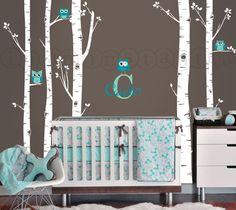 Enchanted nursery https://www.etsy.com/listing/121148694/birch-tree-owl-wall-vinyl-decal-owls-and