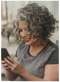Curly Hair Styles, Grey Curly Hair, Curly Hair Cuts, Curly Bob Hairstyles, Hairstyles Over 50, Colored Curly Hair, Trendy Hairstyles, Short Hair Cuts, Natural Hair Styles