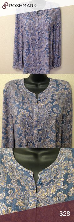"""Lucky Brand Button Up Pleated Top Excellent condition.  Covered button up front, long sleeves with button cuffs, pleated detail at chest and in back.  Approx measurements laying flat: chest 21"""", length 27"""". Lucky Brand Tops Button Down Shirts"""