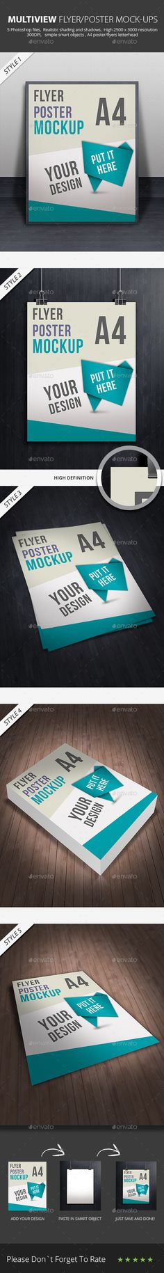 A4 Flyer/ Poster/ Paper Mockup for grand presentation of your flyers with multiple layouts and view point, it's ideal for product showcasing on Creative Market or Graphic River. http://graphicriver.net/item/a4-flyer-poster-paper-mockup-/9000718?ref=themedevisers