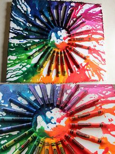 I like this flat technique of the melted crayon craft instead of propping it up and letting them drip