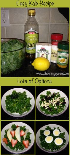 Basic Easy Tasty Kale Recipe with Many Add On Options You probably know kale is good for you, but sometimes
