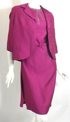 Magenta Silk Beaded Dress with Jacket circa 1960s - Dorothea's Closet Vintage