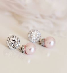 Blush Pink Earrings Blush wedding Jewelry Rose Pink Pearl Bridal Earrings Bridesmaid Earrings& Necklace Blush Bridesmaid Gift Jewelry by DreamIslandJewellery on Etsy