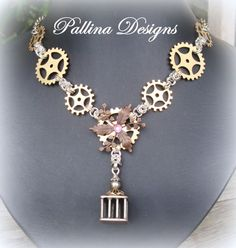 beautiful steampunk jewellery piece called cogs and flowers by Pallina Designs